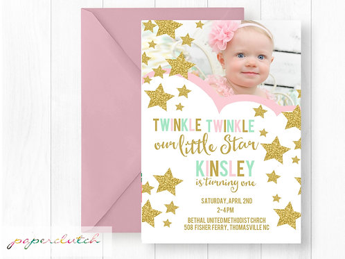 Twinkle Twinkle Little Star 1st Birthday Invitation