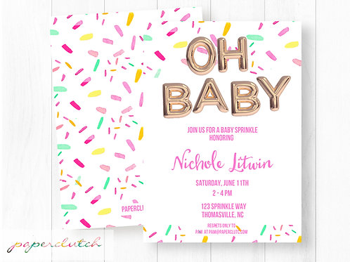 Foil Balloon Baby Shower Invitation | Girl Oh Baby Shower