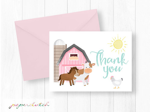 Pink Farm Thank You Card