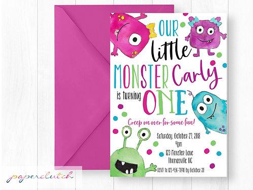 Girl Monster Birthday Invitation