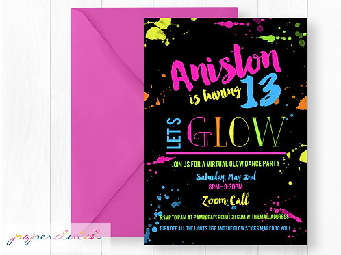 Virtual Glow Dance Party Birthday Invitation