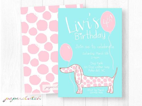 Pink Puppy Dog Birthday Invitation
