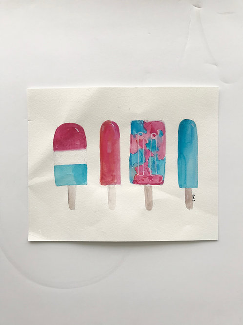 Red White and Blue Popcicles