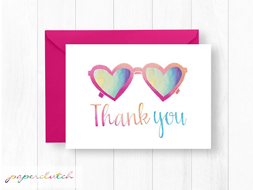 Girl Pool Party Matching Thank You Card