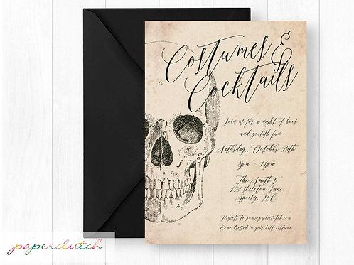 Vintage Skeleton Adult Halloween Party Invitation