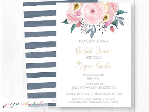 Bridal Shower Floral Invitation Gray Blush