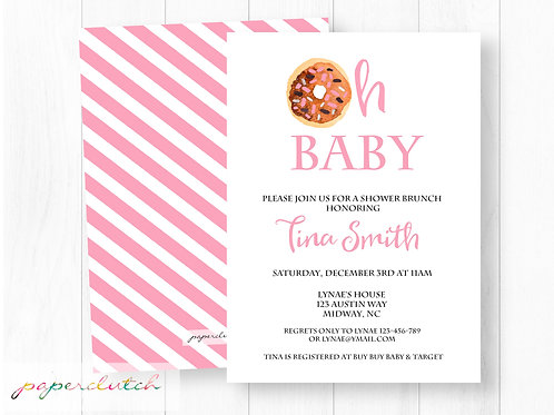 Oh Baby Donut Baby Shower Invitation | Girl Donut Invite