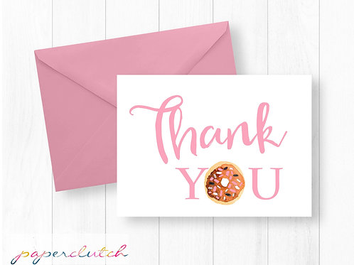 Donut Thank You Card Instant Download
