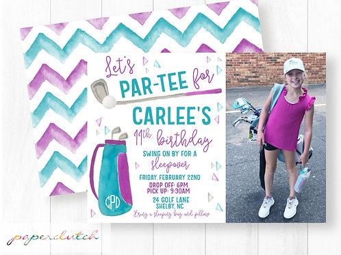 Girl Golf Birthday Invitation