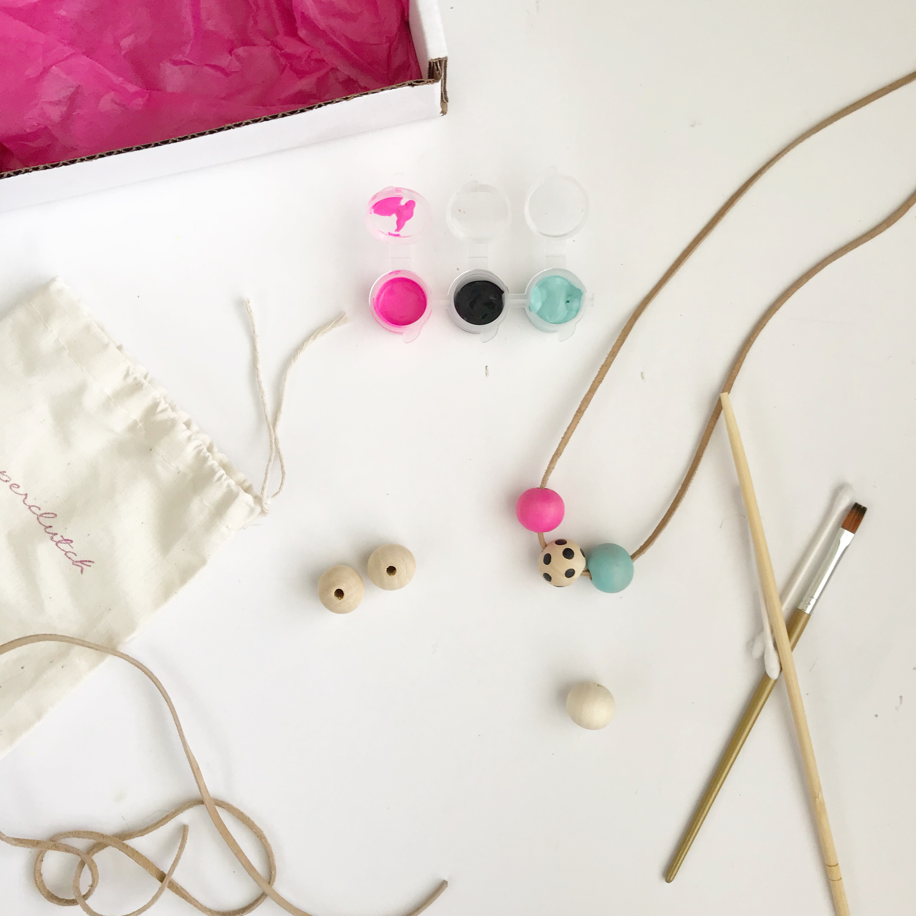 DIY Craft Kit Painted Bead Necklace