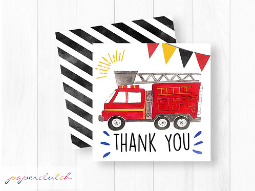 Firetruck Birthday Thank You Tag