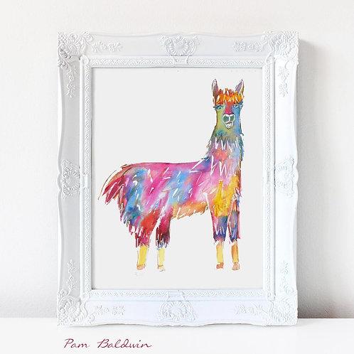 Llama Watercolor Art Print