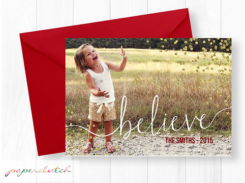Believe Photo Christmas Card