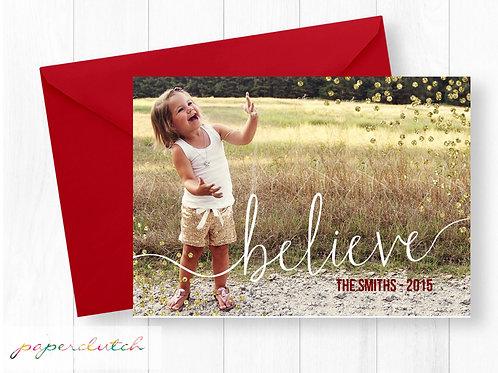 Believe Photo Christmas Card