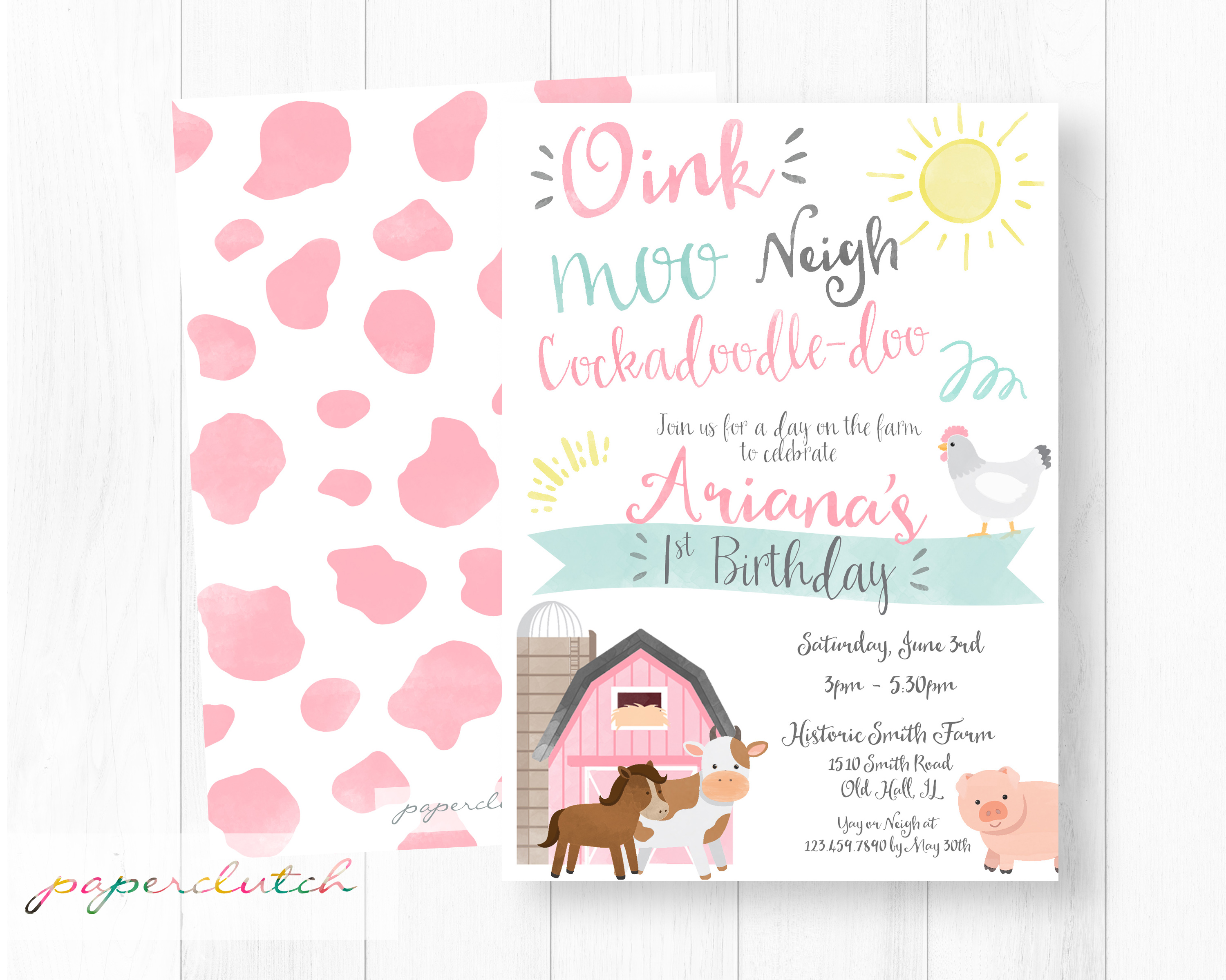 Pink Farm Birthday Invitation