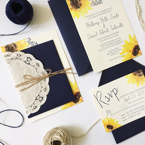 Sunflower Wedding Invitation Suite