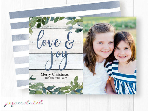 Blue Christmas Photo Card