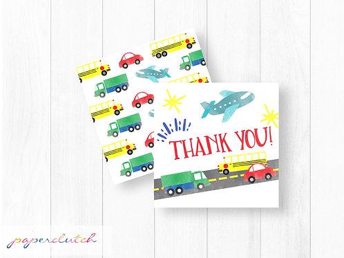 Transportation Birthday Thank you Tags