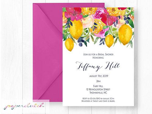 Pink Lemon Bridal Shower Invitation