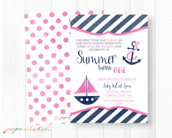 Girl Nautical First Birthday Invite