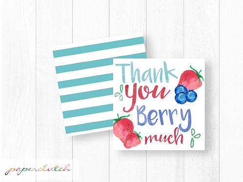 Strawberry Blueberry Thank You Tag