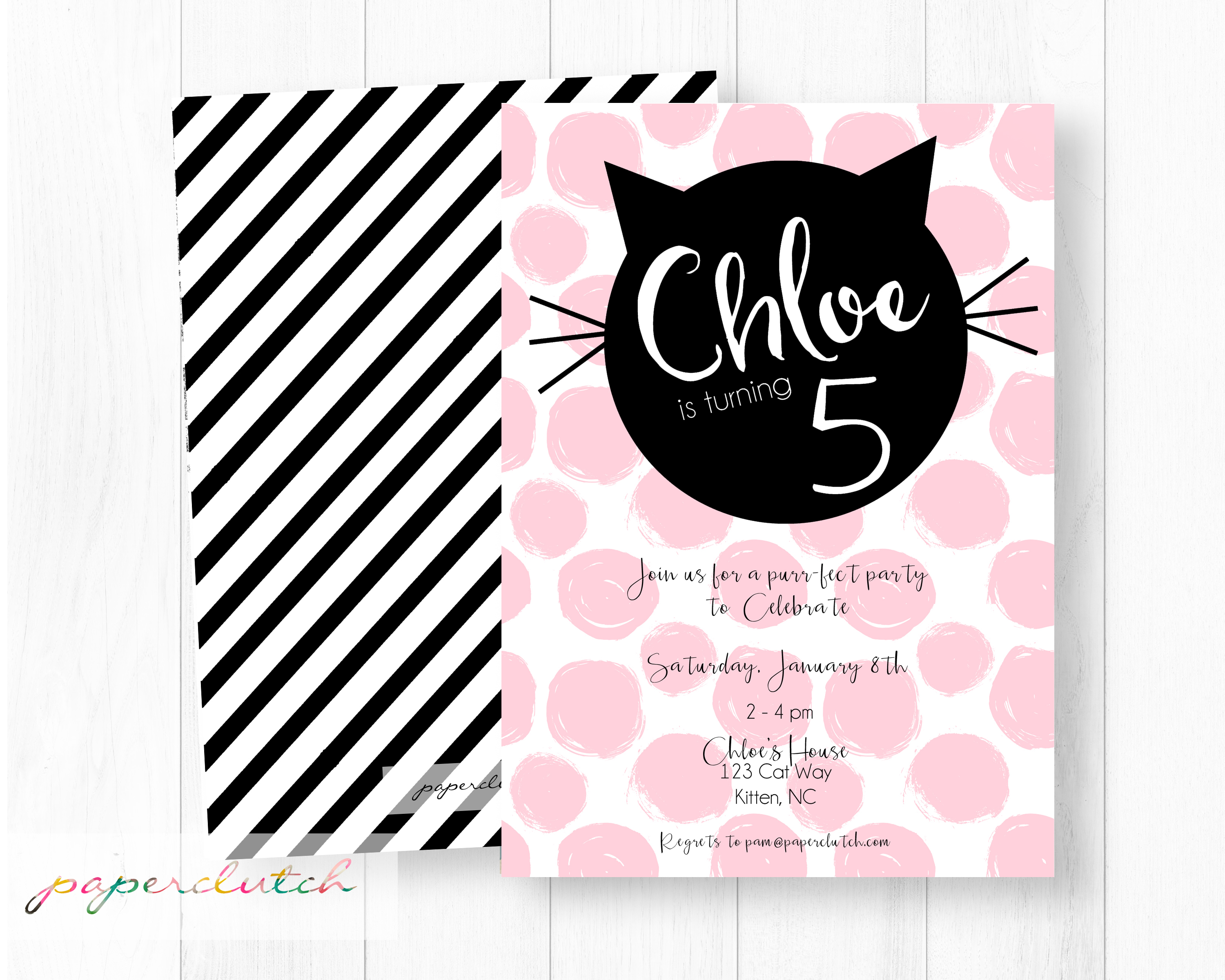 Cat Birthday Party Invitation