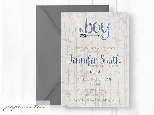Antler and Arrows Baby Shower Invitation