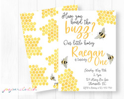 Honey Bee Birthday Invitation | Our LIttle Honey Bumble Bee Birthday Cute Girl Bee Invitations Boy B