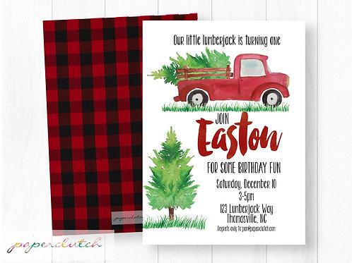 Red Christmas Truck Birthday Invitation