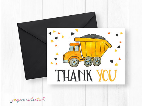 Dump Truck Thank You Card Instant Download