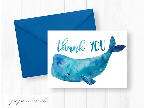 Instant Download Watercolor Whale Thank You Card
