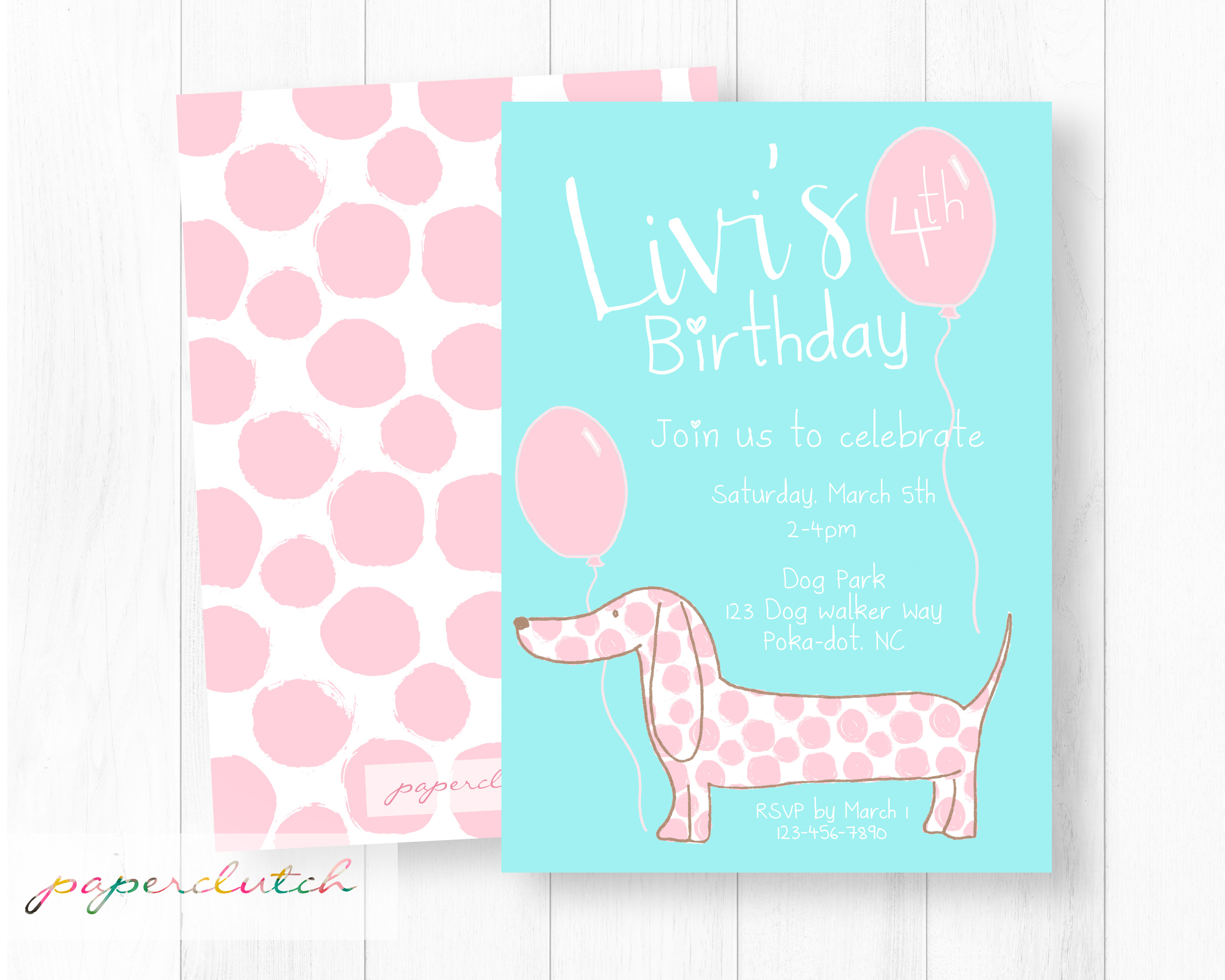 Girl Pink Puppy Dog Birthday Invite