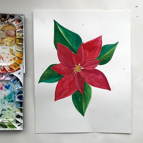 Watercolor Poinsetta