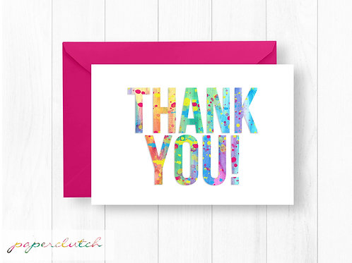 Art Birthday Party Thank You Card
