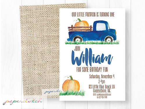 Blue Truck Birthday Invitation