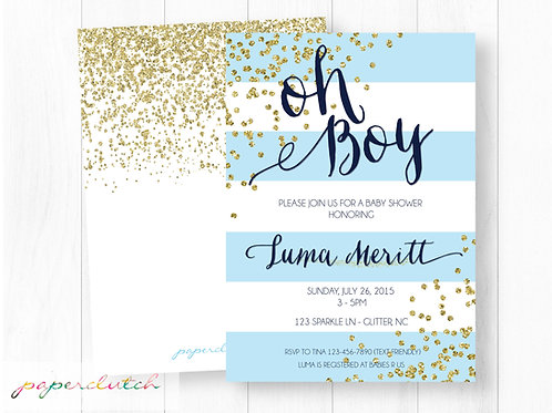 Sparkle Baby Shower Invitation | Blue Sparkle Baby Shower Invite