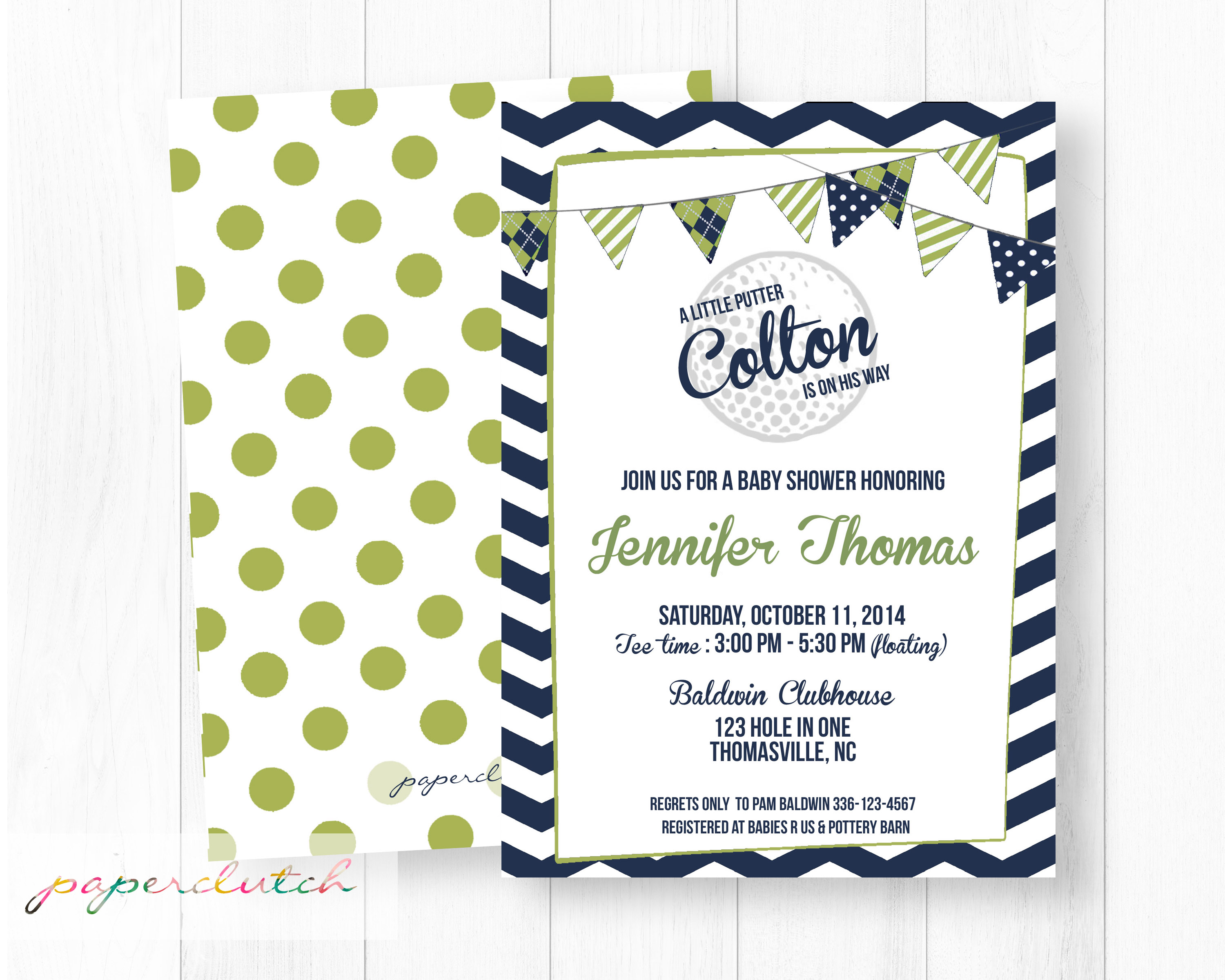 Golf Baby Boy Shower Invitation