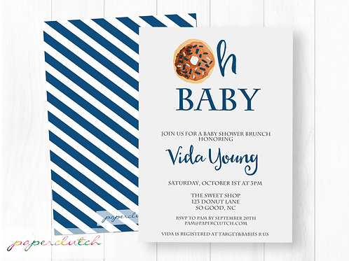 Donut Baby Shower Invitation | Oh Baby Doughnut Invite