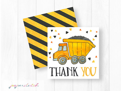 Dump Truck Birthday Thank you Tags