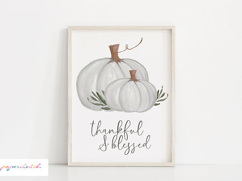 Printable White Pumpkin Fall Print - Digital File