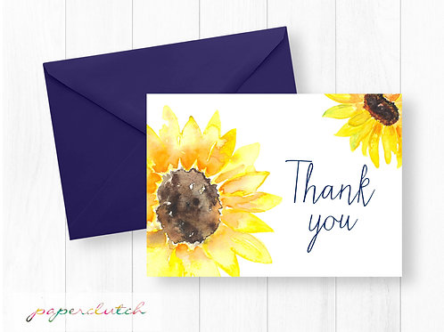 Instant Download Sunflower Thank You Card