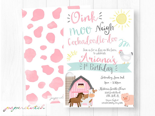 Pink Farm Birthday Invite