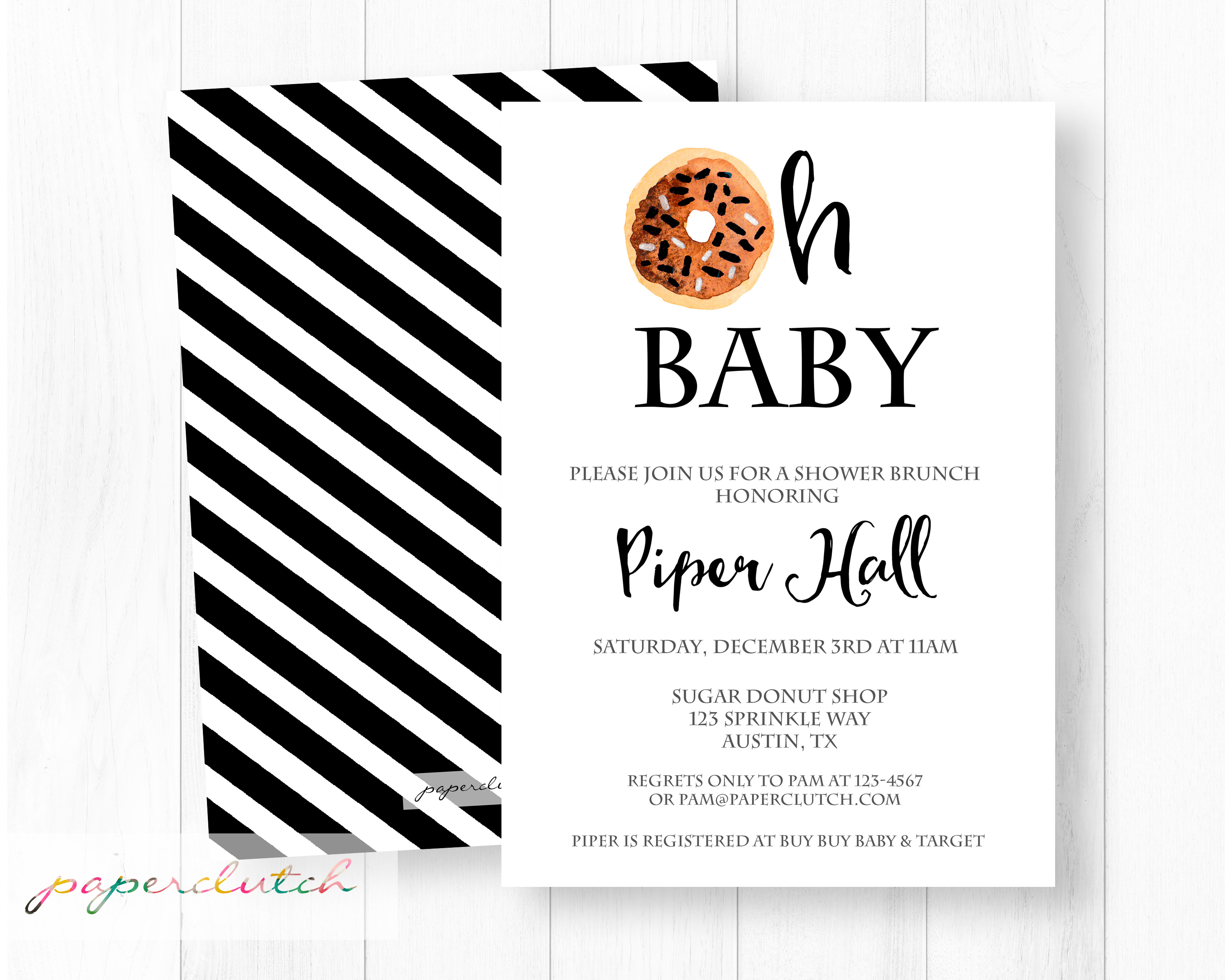 Oh Baby Doughnut Shower Invitation