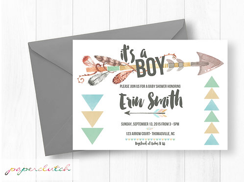 Tribal Baby Shower Invitation | Boho Boy Baby Shower Arrows and Feathers