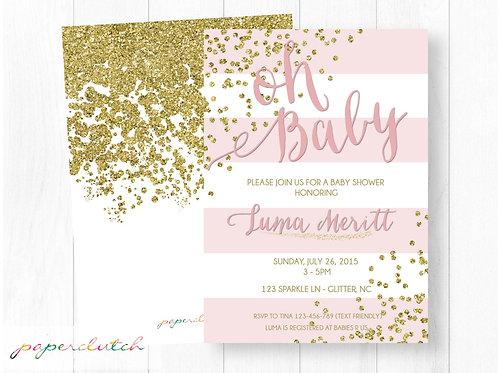 Pink Gold Baby Shower Invitation