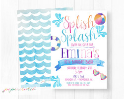 Girl Pool Party Birthday Invitation