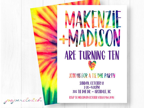 Tie Dye Birthday Party Invitation