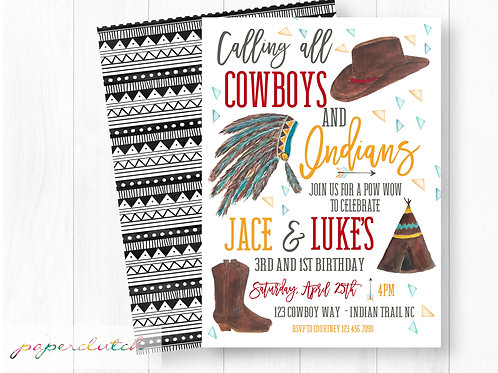 Cowboy and Indian Birthday Invitation
