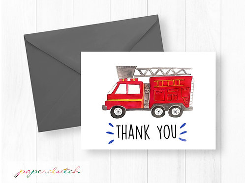Firetruck Thank You Card