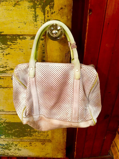 Vive la Difference white  perforated degraded satchel